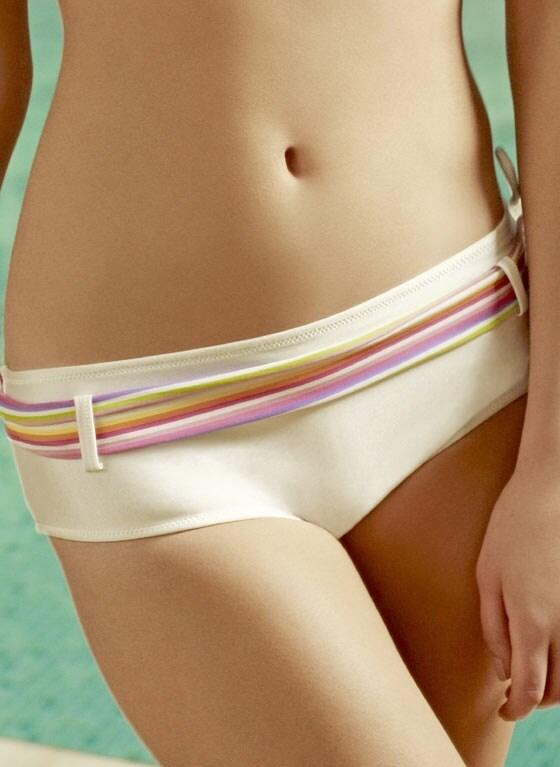 Rainbow Bikini Shorts - Shimmery White