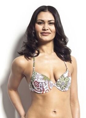 Halterneck Bikini Top - Green Print Bikini Top Only