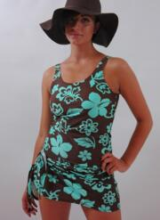 Cool Lagoon Sarong - Chocolate and Turquoise