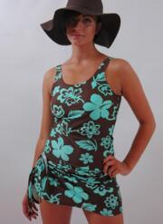 Cool Lagoon Sarong - Chocolate and Turquoise
