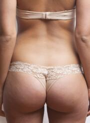 After Eden thong with lace trim - latte
