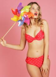 Bon Bon Gel Bikini Set with Retro Brief - Red & White Polka