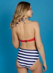 Siren Gel Bikini Set with Retro Briefs - Red, White & Navy