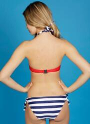 Siren Gel Bikini Set with Tie-Side Briefs - Red, White & Navy